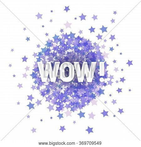 Wow Lettering On Blue Starry Background For Web Banners, Header, Shop, Logo, Logotype, Sign.