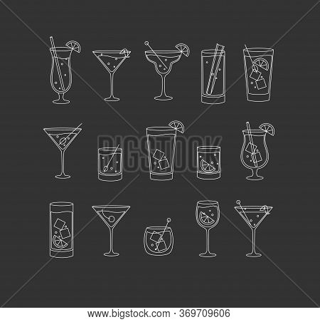 Alcohol Drinks And Cocktails Icon Set In Flat Line Style On Dark Background.