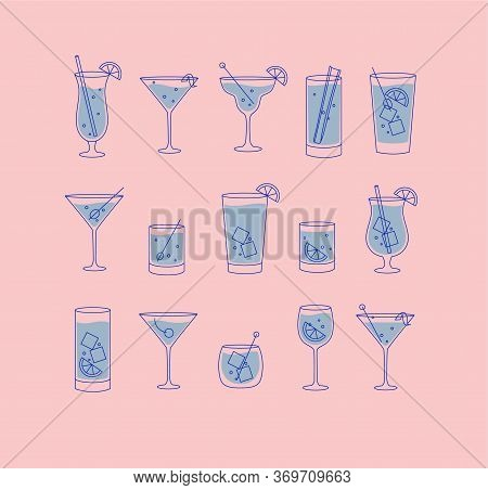 Alcohol Drinks And Cocktails Icon Set In Flat Line Style On Pink Background.