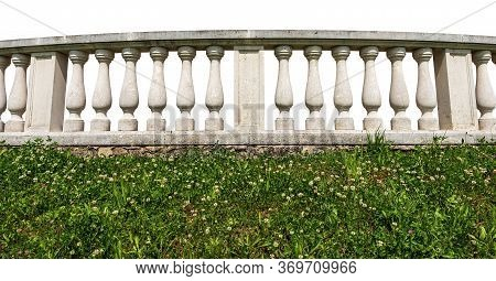 Close-up Of A White Balustrade With Green Grass Isolated On White Background