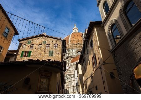 Florence Cathedral (duomo Di Firenze, Santa Maria Del Fiore) With The Famous Dome By The Architect F