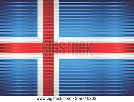 Shiny Flag Of Iceland - Illustration,  Three Dimensional Flag Of Iceland