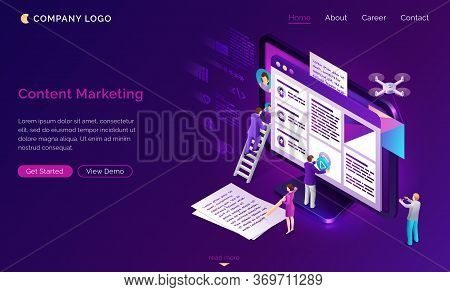 Content Marketing Banner. Social Media Advertising, Seo Optimization Concept. Vector Landing Page Of