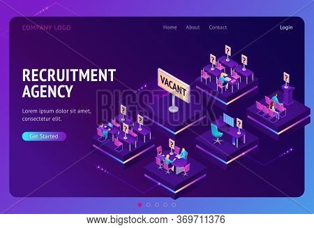 Recruitment Agency Banner. Service For Hire Employee And Offer Job Opportunity. Vector Landing Page