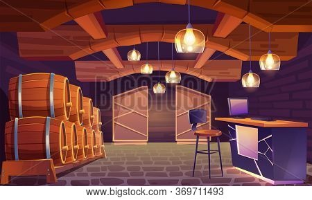 Wine Shop, Cellar Interior With Wooden Barrels, Brick Walls And Floor, Lamps In Shape Of Wineglass.
