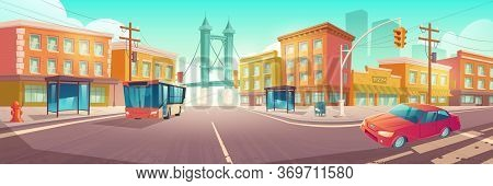 City Crossroad With Bus And Car On Transport Intersection With Zebra Crossing, Traffic Lights And St