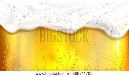 Beer With Bubbles And Foam Background. Vector Realistic Illustration Of Lager Texture In Glass With