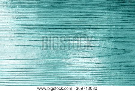 Wooden Board Texture With Blur Effect In Cyan Tone. Abstract Background And Texture For Design.