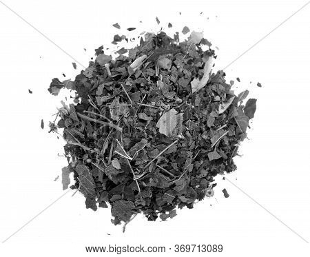Dry Herbal Tea Isolated On White In Black And White. Food And Ingredients Background.