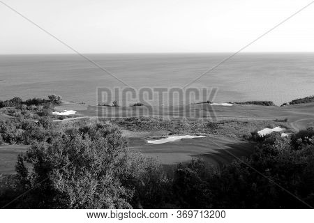 Golf Fields And Black Sea Resort In Black And White. Seasonal Natural Background.