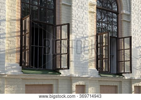 Two Open Windows Of Antique Building Or Church