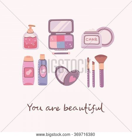 Collage Of Cosmetics And Body Care Products For Make Up. Lipstick, Lotion, Hair Comb, Powder, Perfum