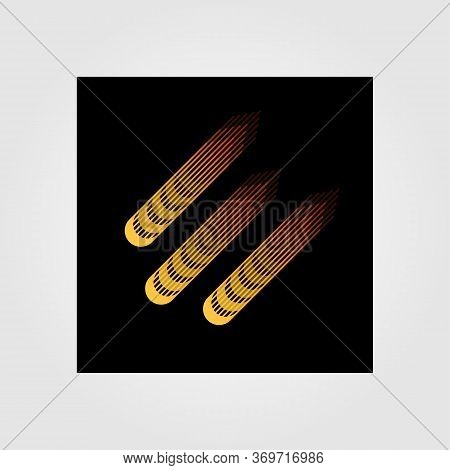 Meteor Logo Vector Illustration Design In Night Backgorund