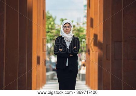 Hands Crossed. Beautiful Muslim Successful Businesswoman Portrait, Confident Happy Ceo, Leader, Boss