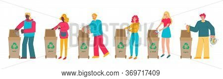 People Cartoon Characters Putting Rubbish In Trash Bins, Sketch Vector Illustration Isolated On Whit