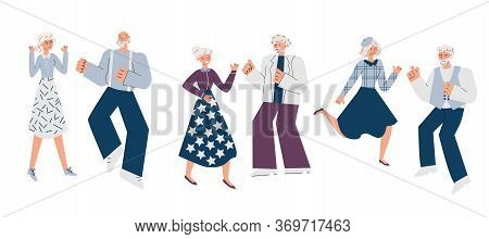 Elderly People Characters Dancing At Party, Sketch Cartoon Vector Illustration Isolated On White Bac