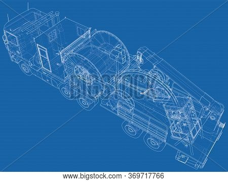 Wire-frame Line Coiled Tubing Truck Isolated On White. Vector Rendering Of 3d