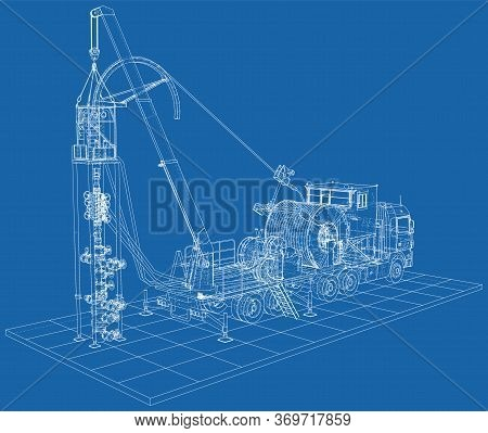 Coil Tubing Roll Truck. Eps10 Format. Vector Created Of 3d