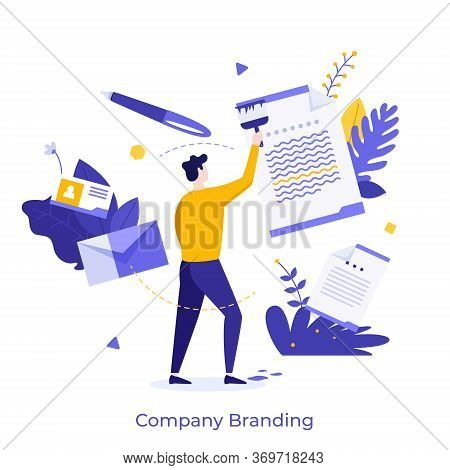 Man Or Manager Painting Paper Document With Brush. Modern Concept Of Company Branding, Brand Managem