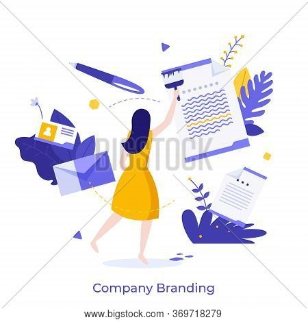 Woman Or Manager Painting Paper Document With Brush. Modern Concept Of Company Branding, Brand Manag