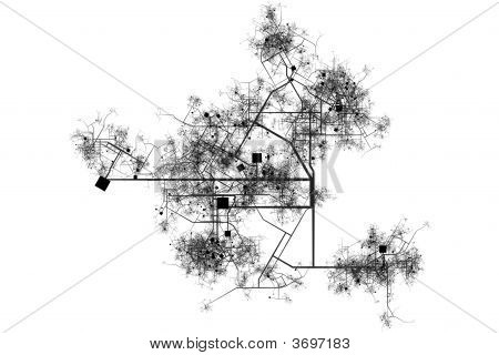 City Blue Prints Abstract Background in Black and White poster
