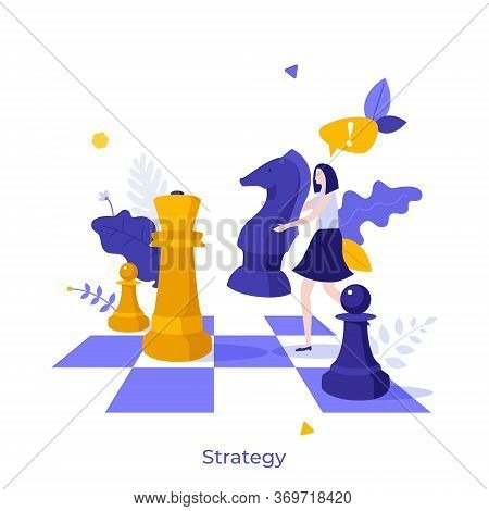 Office Worker Standing On Chessboard And Moving Giant Knight Chess Piece. Modern Concept Of Strategy