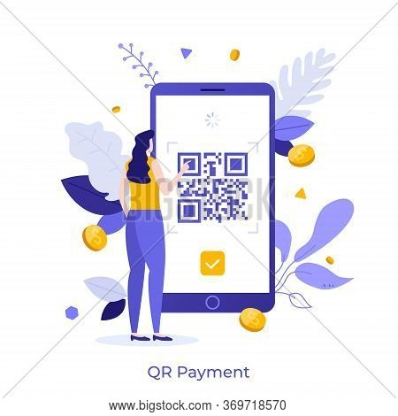 Woman Standing In Front Of Mobile Phone And Touching Screen With Qr Barcode. Concept Of Quick Respon