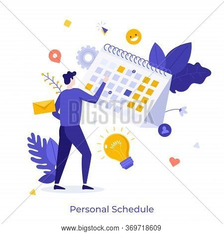 Man Standing In Front Of Calendar Or Planner And Managing His Personal Schedule Or Timetable. Concep
