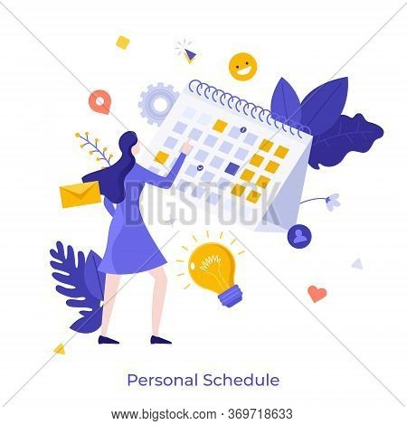 Woman Standing In Front Of Calendar Or Planner And Managing His Personal Schedule Or Timetable. Conc