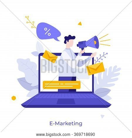 Man With Megaphone Or Bullhorn On Screen Of Laptop Computer. Concept Of E-marketing, Internet Promo,