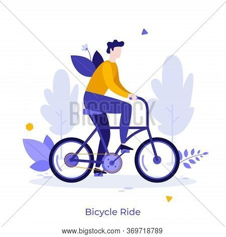 Man Riding Bike. Cute Sportsman On Bicycle Isolated On White Background. Male Bicyclist Taking Part
