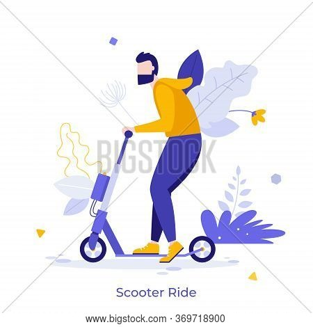 Young Happy Man Riding Motorized Kick Scooter Isolated On White Background. Funny Guy On Modern Pers