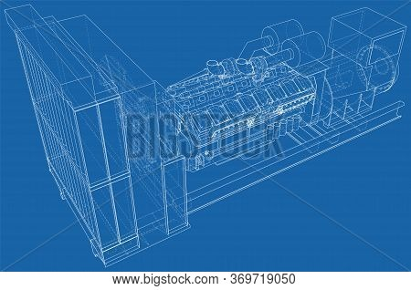 Diesel Generator. The Layers Of Visible And Invisible Lines Are Separated. Eps10 Format. Wire-frame