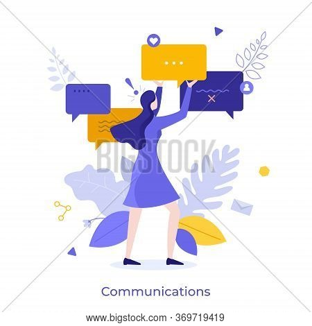 Cute Woman Holding Speech Bubble Or Message Notification. Creative Concept Of Internet Communication
