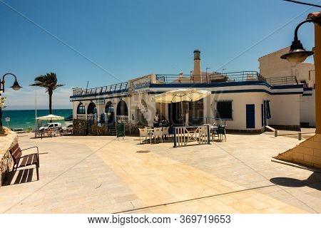 Mil Palmeras, Valenciana, Spain - June 03 2020 : Bars And Restaurants Open, But Very Quiet Due To Co