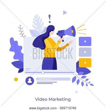 Woman Holding Bullhorn Or Megaphone In Multimedia Player Window. Concept Of Social Video Marketing,