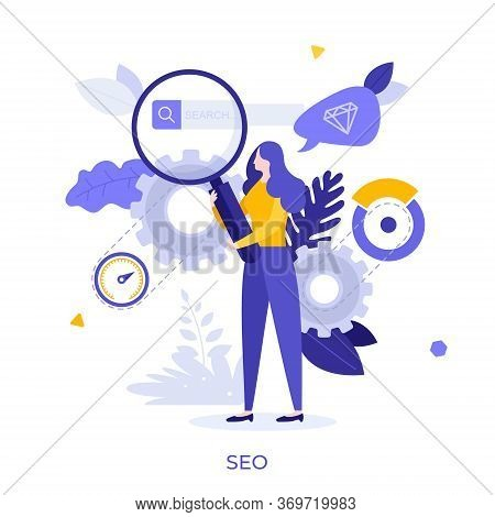 Woman Holding Giant Magnifying Glass Or Loupe. Concept Of Seo Or Search Engine Optimization, Interne