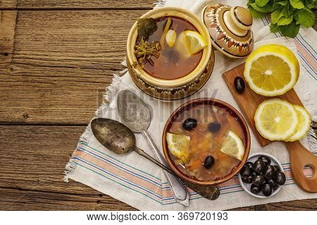 Hodgepodge, Hot Soup Served In Traditional Ceramic Bowl And Pot. Classical Eastern Europe Dish