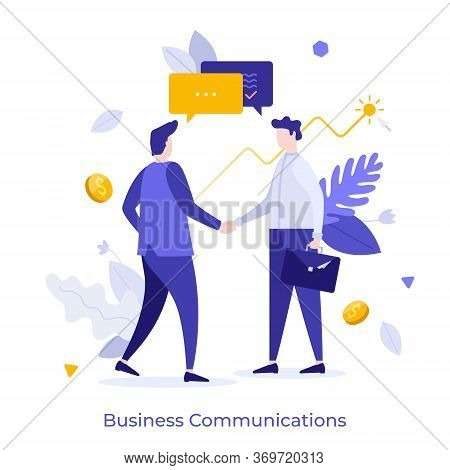 Pair Of Businessmen Or Managers Shaking Hands And Talking. Concept Of Business Agreement, Deal, Coop