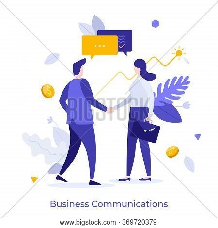 Businessmen And Businesswoman Shaking Hands And Talking. Concept Of Business Agreement, Deal, Cooper