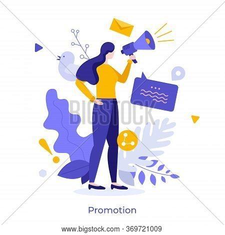 Woman Using Megaphone Or Bullhorn. Concept Of Internet Promotion, Online Promo, Promotional Message,