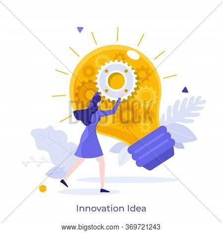 Woman Fixing Glowing Light Bulb With Gear Wheels Inside. Concept Of Innovation, Innovative Idea, Cre