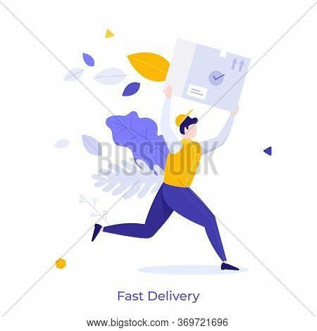Courier, Postman Or Mailman Carrying Box, Package Or Parcel. Concept Of Fast Delivery Of Goods Or Pr