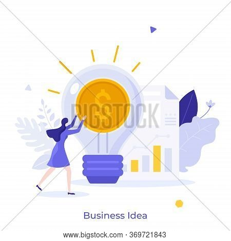 Businesswoman, Glowing Lightbulb With Dollar Coin Inside And Document With Diagram. Concept Of Busin