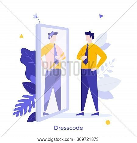 Clerk, Manager Or Businessman Looking At His Reflection In Mirror And Evaluating His Attire. Concept
