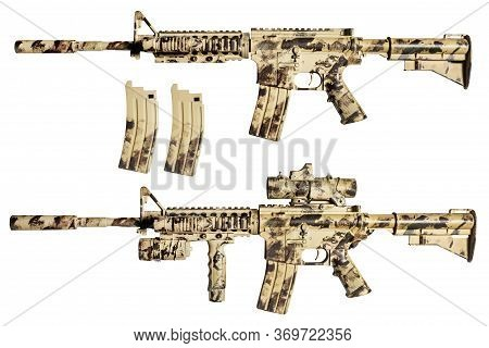 Isolated Photo Of A Desert Camouflaged Ar-15 Rifle Variations With Scope And Clips On White Backgrou