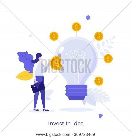 Businesswoman Or Investor Putting Dollar Coin Into Slot In Light Bulb. Invest In Idea Concept. Ventu