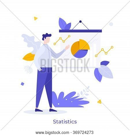 Clerk, Businessman, Office Worker Making Presentation At Whiteboard With Pie Chart. Concept Of Busin