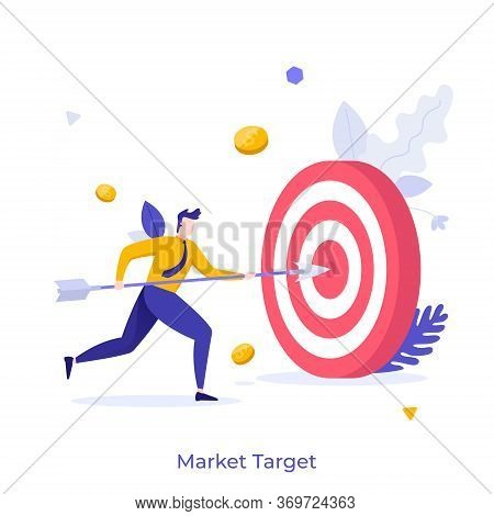 Businessman, Office Worker Or Clerk Poking Center Of Shooting Target With Arrow. Concept Of Market G