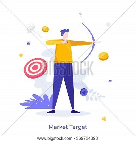 Archer Or Bowman Holding Bow And Arrow, Aiming And Shooting. Concept Of Market Target, Business Goal